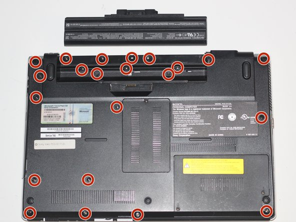 Using a Phillips #00 screwdriver, remove the twenty-two 5.6 mm screws from the back of the laptop.