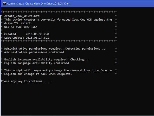 "Run the command ""create_xbox_drive"""