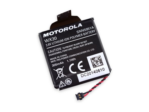 There's something afoot, because Motorola has marketed the Moto 360 as having a 320 mAh capacity battery, but the battery is clearly marked as 300 mAh.