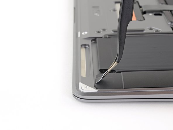 Use a pair of tweezers to lift up the black adhesive pull tab at the bottom of the left speaker, enough so you can grab it with your fingers.