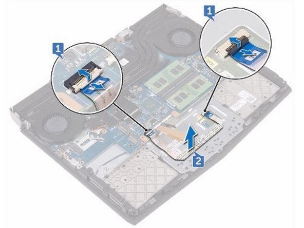Remove the five screws (M2x3) that secure the touch-pad bracket to the palm-rest assembly.
