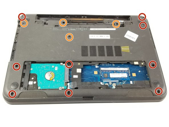 Remove the nine 8.65mm screws holding the backplate to the laptop using the PH0 head screwdriver.