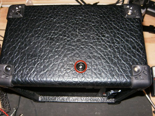 Remove the Philips head screw on the left side of the Amp.