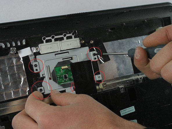 Locate the five (5) screws that support the touch-pad and remove them.