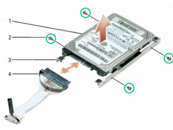 Attach the new hard drive to the brackets using four M3 x 3-mm screws.