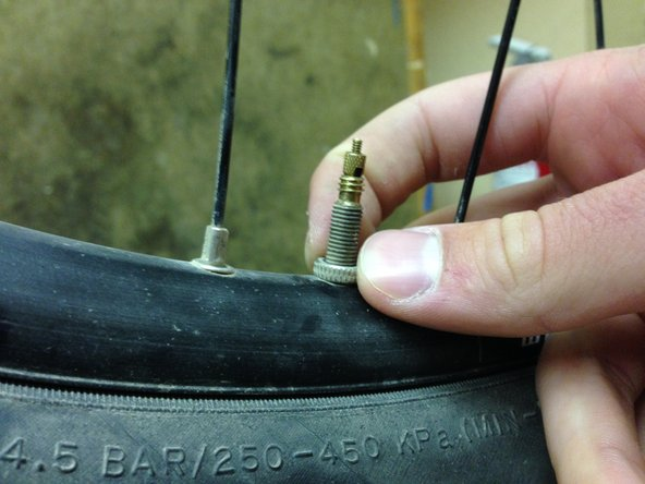 Use you thumb and index finger to unscrew the valve nut by rotating it counterclockwise.