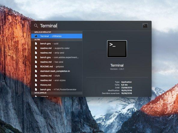 """Faites une recherche avec le Spotlight ou allez dans """"Applications/Utilitaire"""" pour lancer le Terminal."""