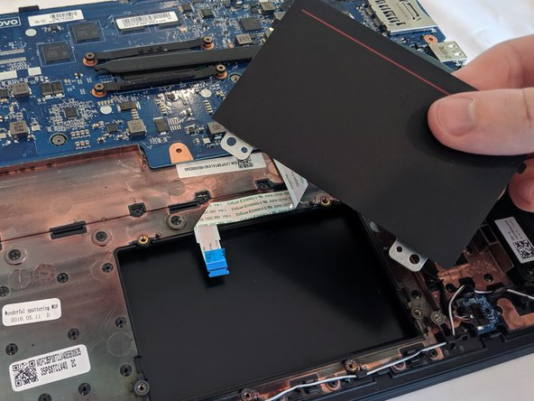 Lift the trackpad out of the case, bottom end first.