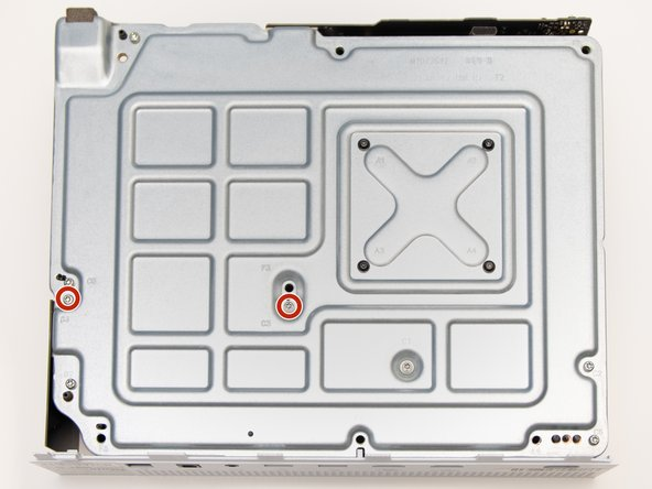 Remove the two 10mm screws, labeled C3 and C4, attaching the plastic hard drive case to the metal chassis with the Torx T8 Security screwdriver.