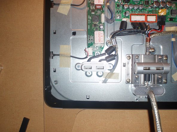 There are two leads from the USB port to the LCD Main Board.