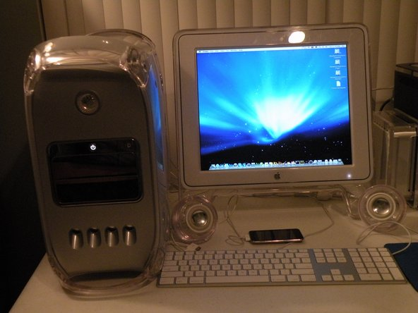 """The PowerMac G4 MDD Complete With Pro Speakers, 17"""" Studio Display, Mighty Mouse And Keyboard, Runs Leopard Server and Ubuntu 9 Beautifully."""