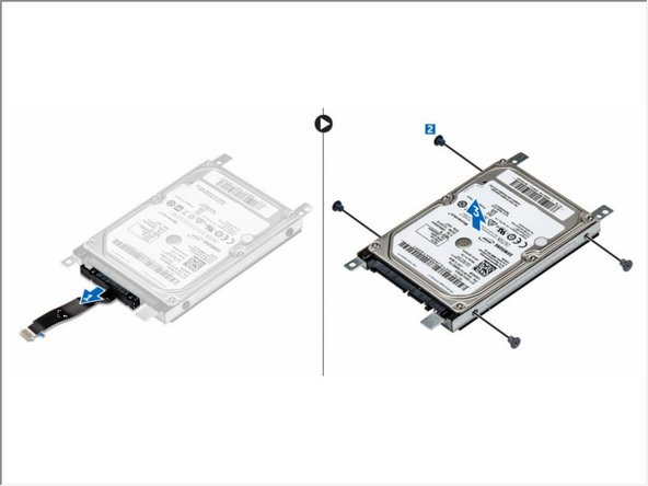 Pull the hard drive cable connector to remove it from the hard drive [1].