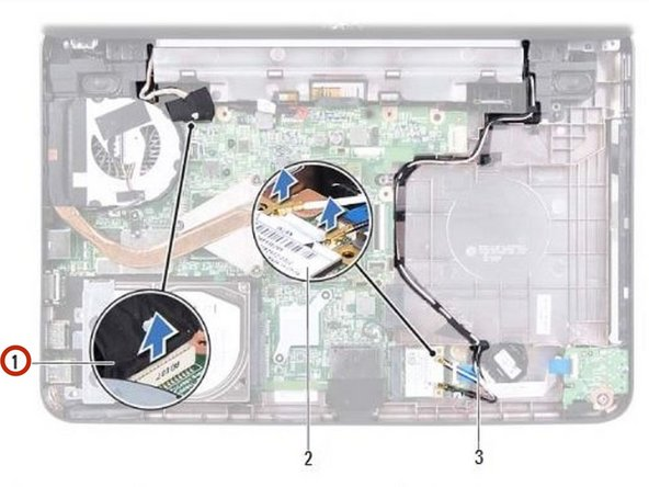 Connect the display cable to the connector on the system board.