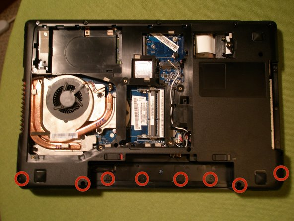 From the bottom of the unit: Remove the 8 retaining screws on the hinge side of the chassis.