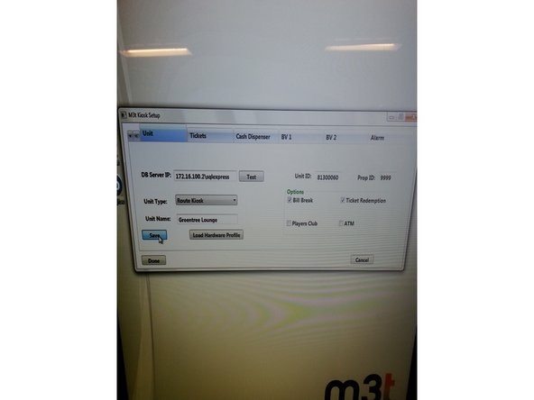 """When the M3t Kiosk Setup screen opens, you will need to test the connection before you can do anything. Sometimes you might need to delete """"sqlexpress"""" from the DB Server IP but otherwise it should be fine.   DO NOT CLICK DONE OR EXIT OUT UNTIL EVERYTHING IS FINISHED!!! ''italic text''"""