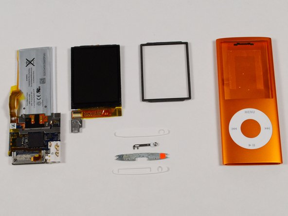 All the parts. The main board is incredibly small, especially considering all the features packed into this iPod.