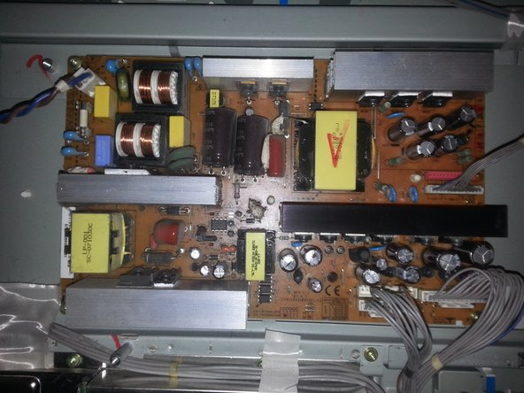 Check the power-board. If there are any blown-up capacitors, you should replace them.