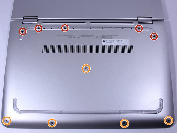 Remove all  of the screws located on the bottom of the laptop: