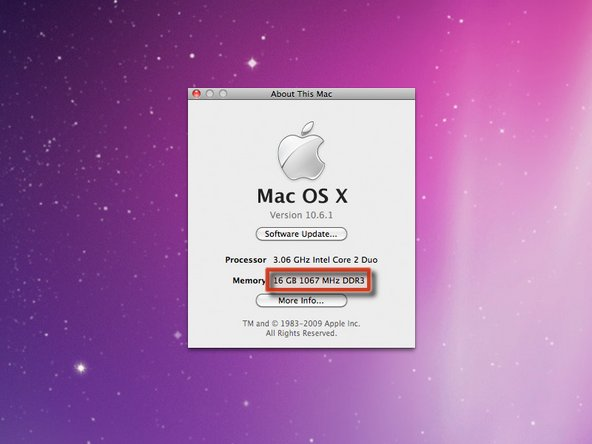 You can now install a whopping 16 GB of RAM in your iMac! In a very welcome move, Apple doubled the number of slots, enabling you to install four 4 GB PC3-8500 chips.