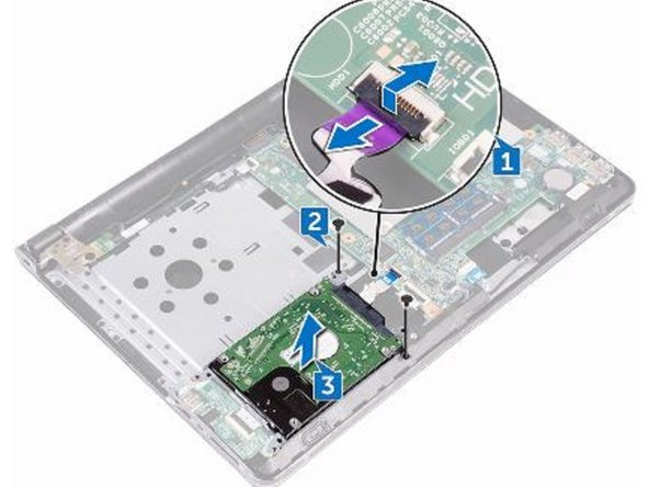 Slide the hard-drive cable into the connector on the system board and press down the latch to secure the cable.