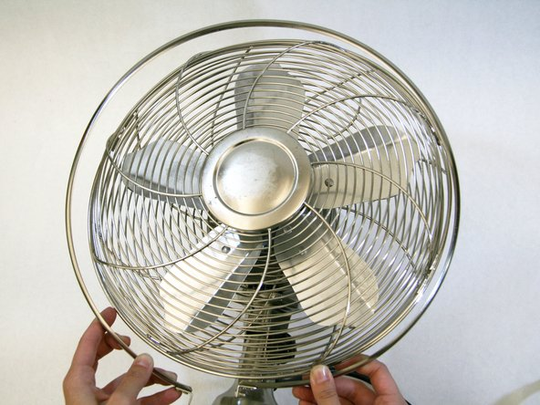 Remove the ring that runs around the edge of the fan cage.