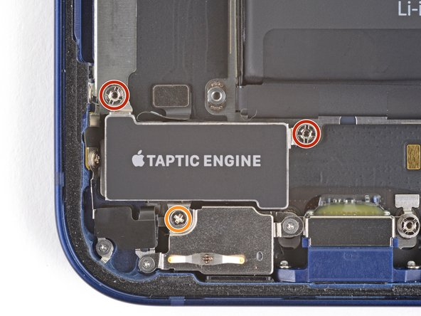Remove the three screws securing the Taptic Engine.