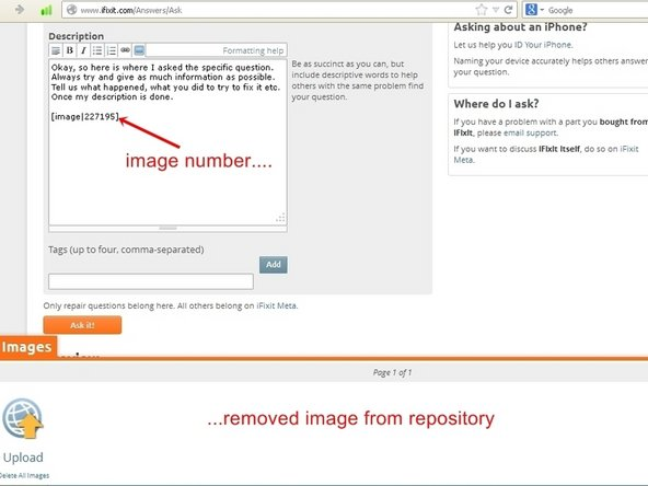 Once the image was dragged to the question, it will show up as a number in the text box, but can be viewed in the preview. The image will now have been removed out of the repository as well.