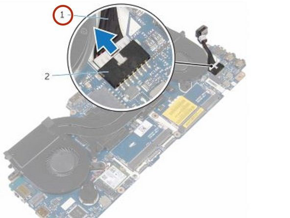 Connect the power-adapter port cable to the system board.