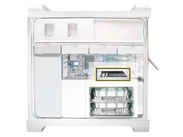 Look inside the PCI Express Bay at the top right of the Mac Pro. You'll need to remove items from this location next.