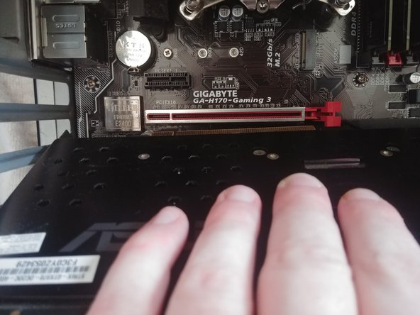 When inserting a replacement GPU, ensure that the base is lined up properly with the appropriate slot on the motherboard.