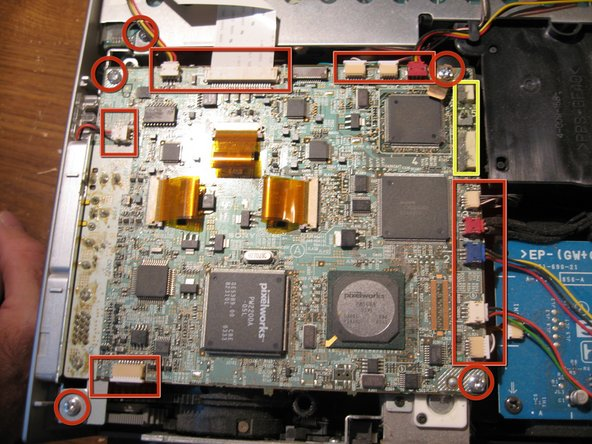 Now you will remove all other connectors from the outer parts of the mainboard. as marked in the Red Rectangles. Gently, pull them out of their connection place.